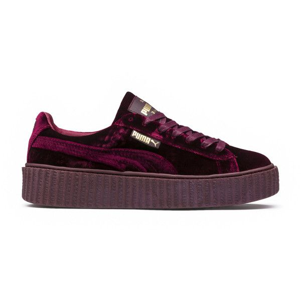 Puma Fenty X Puma Creepers (495 BRL) ❤ liked on Polyvore featuring shoes, sneakers, flats, puma, purple, flats sneakers, flat platform shoes, sports shoes, purple shoes and puma trainers
