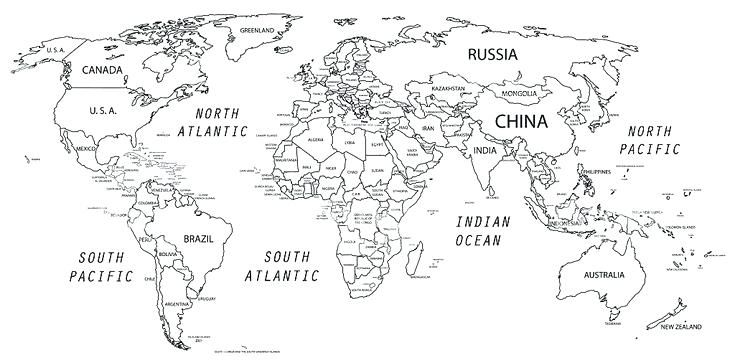 Zany image throughout map of the world black and white printable