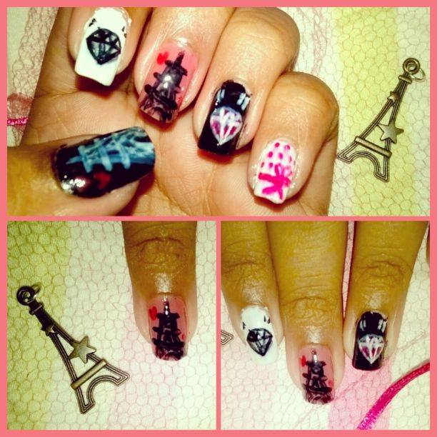 Eiffel tower themed nail art