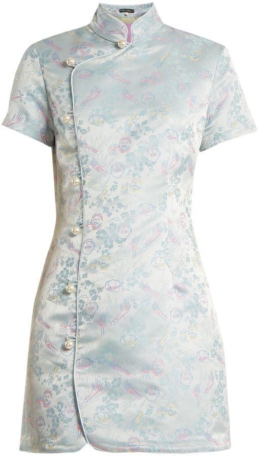 #affiliatead -- ALEXACHUNG Mandarin-collar jacquard satin dress -- #Chic only #Glamour Always