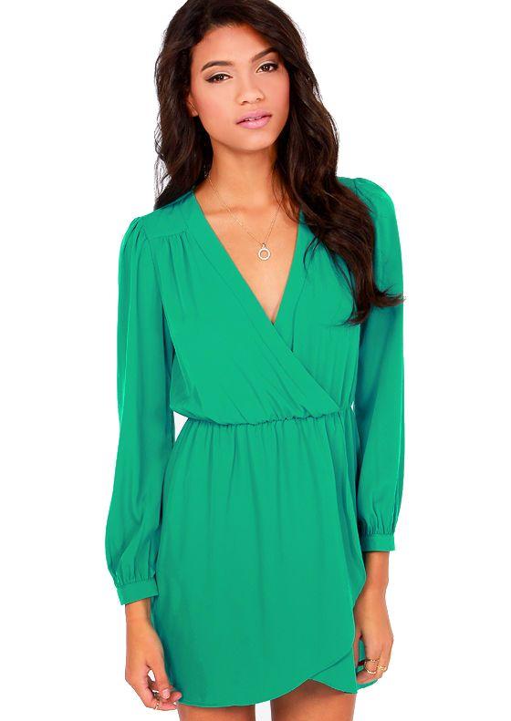 V neck summer dresses long sleeve