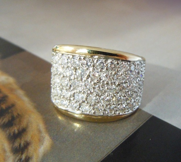 14k Yellow Gold Thick Pave Diamond Band Bridal