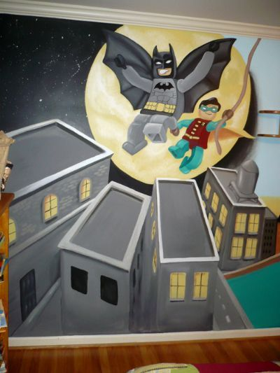 When we have a baby if it 39 s a boy i want this for his for Batman bedroom wall mural