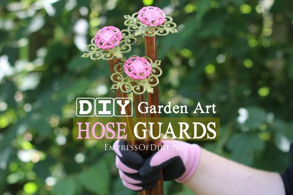 Turn Old Drawer Pulls Into Sweet Garden Hose Guards - could be used as plant stake for the truly unruly delphiniums.