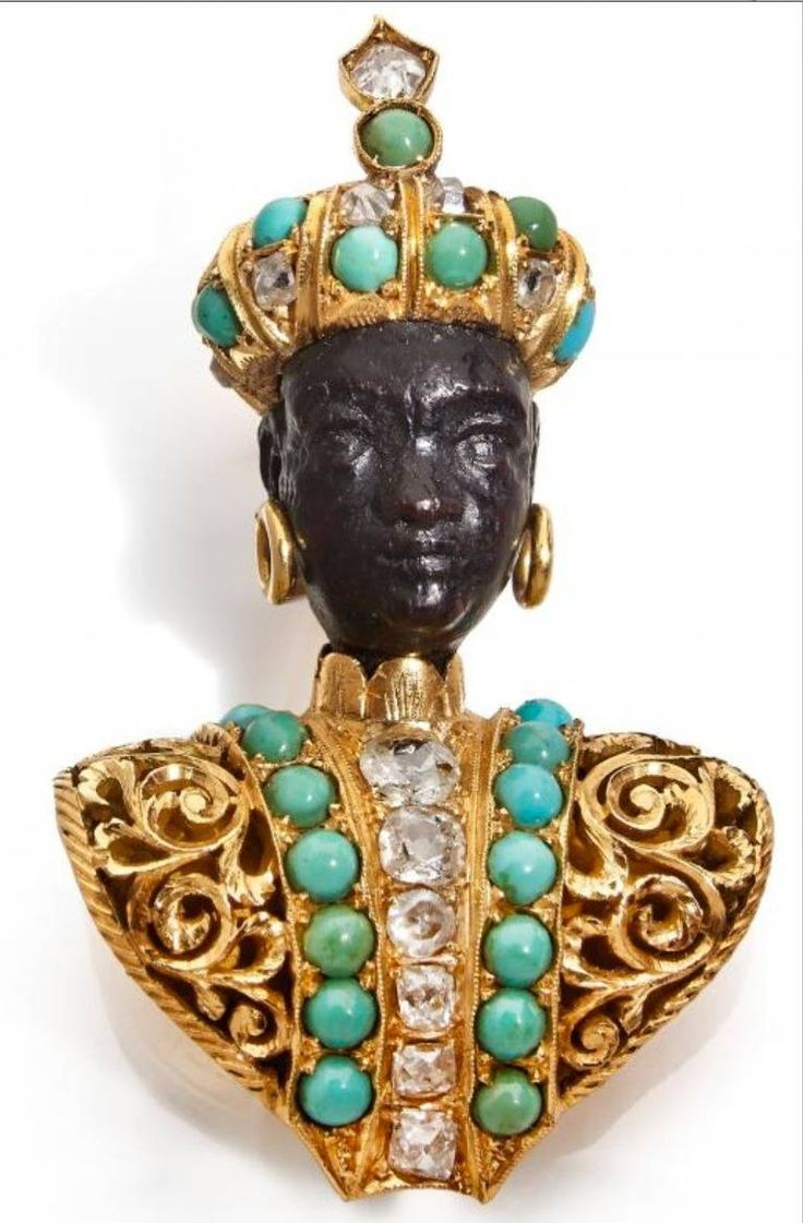 NARDI Blackamoor in ebony, gold, turquoise and diamonds   From a unique collection of vintage brooches at https://www.1stdibs.com/jewelry/brooches/brooches/