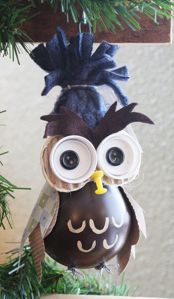 Owl Christmas Tree Ornament - made from a recycled lightbulb -upcycled (A)