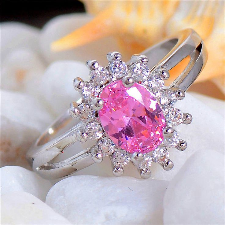 Classic Oval Cut Silver Plated Pink Cubic Zirconia Ring Various Sizes | eBay