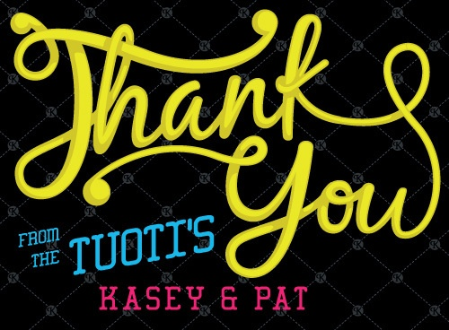 Wedding by Patrick Tuoti #thank you card #typography