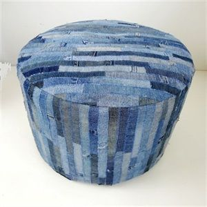 OBC Denim Ottoman - sew all your scraps into large pieces, then reupholster something.