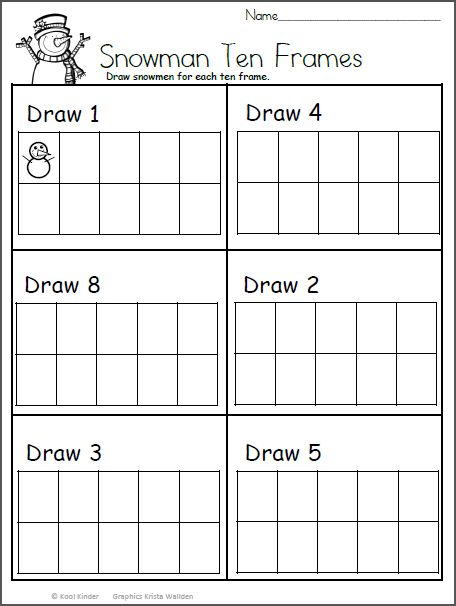 Snowmen Ten Frame Worksheet