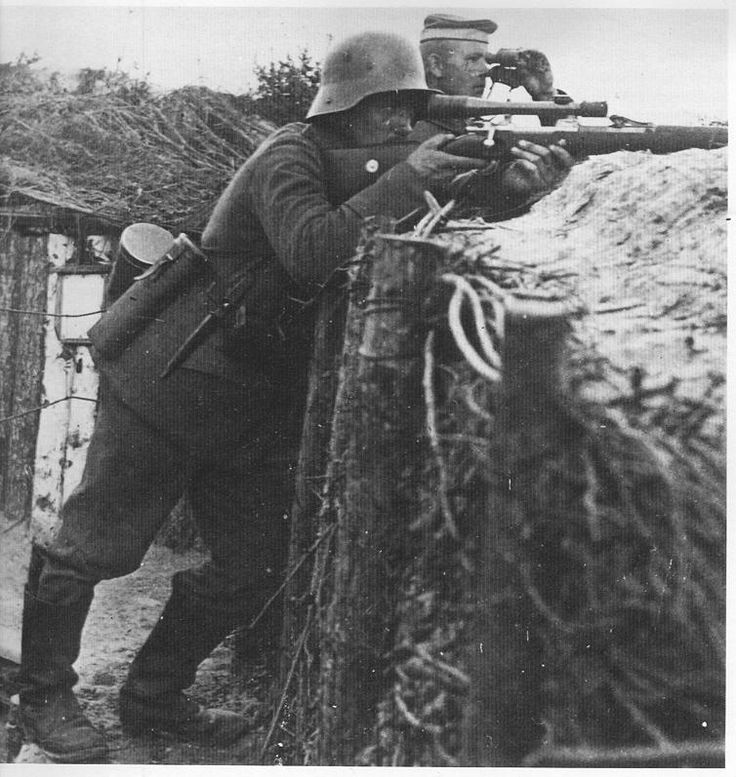 A German sniper in the trenches on the Western Front.