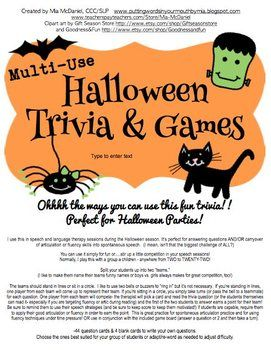 halloween trivia games 44 fun questions and a game board perfect for halloween - Halloween Monster Trivia