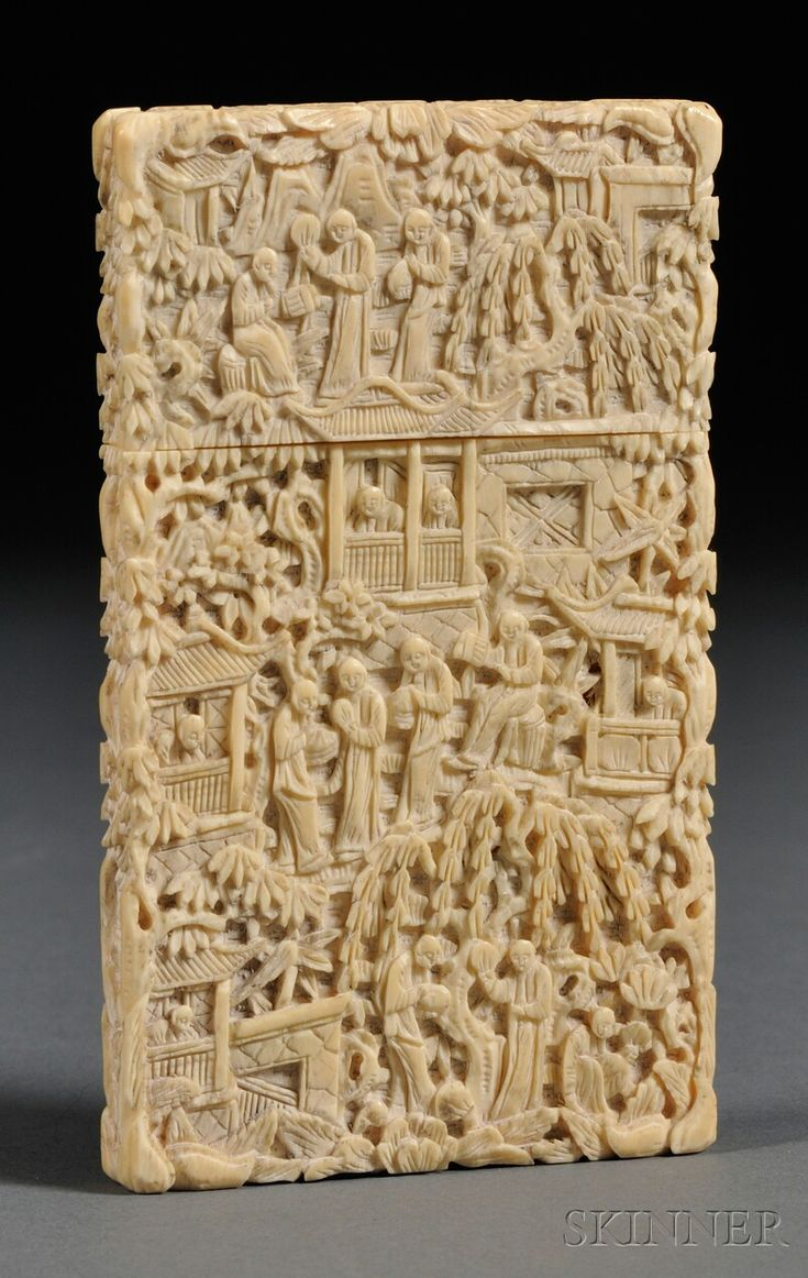 Ivory carte de visite china th century relief carving