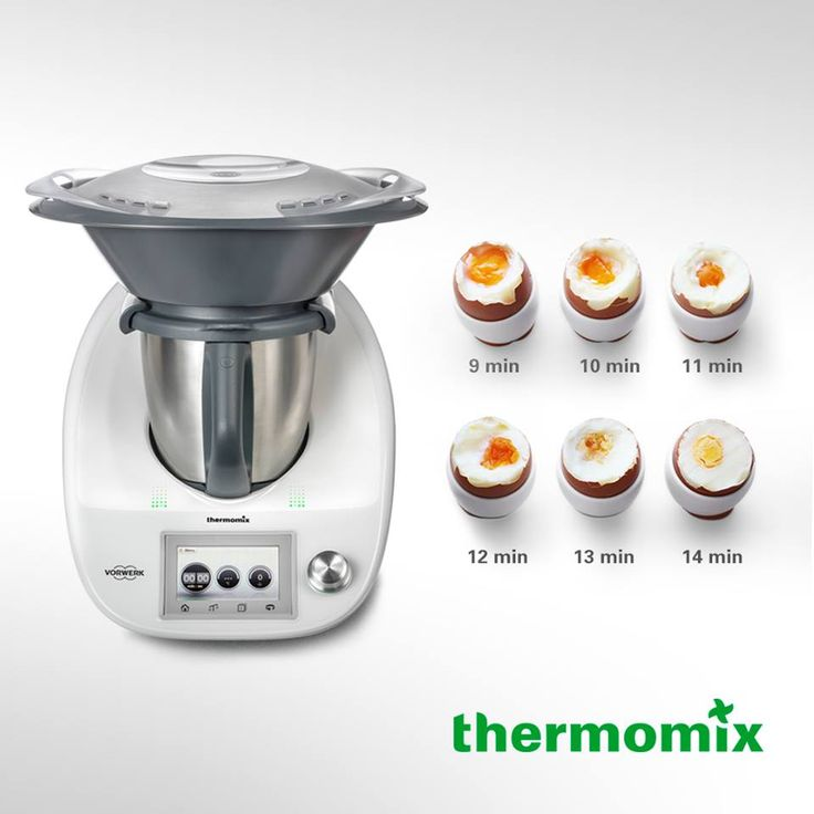 How do you like your eggs?  Eggs are a fantastic breakfast food and the timing and heating function of Thermomix ensures perfectly cooked eggs every time.   The below times are based on 500 g tap water, 4 x 60g eggs in the simmering basket and Varoma temp. Use our guide below to select your cooking time and then continue getting ready for the day ahead until your timer sounds. Thanks Thermomix.