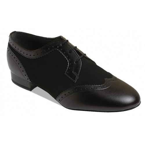 "Supadance 6400  Mens Black and White Leather Shoe with 1"" Cushioned Heel. Regular Fitting, Full Suede Sole. Also available in Black Leather/Black Nubuck .  Price: 109.50€"