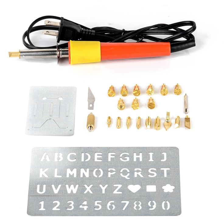 26.30$  Buy now - http://alijv0.shopchina.info/1/go.php?t=32816418554 - Wood Burning Pen Set Soldering Tips with Alphabet Numbers Stencil Art Craft DIY Tool Kit For Pyrography Tools  #buymethat