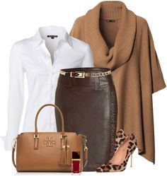 Brown Poncho Pencil Skirt Leopard Pumps Work Outfit | Outfits Pedia