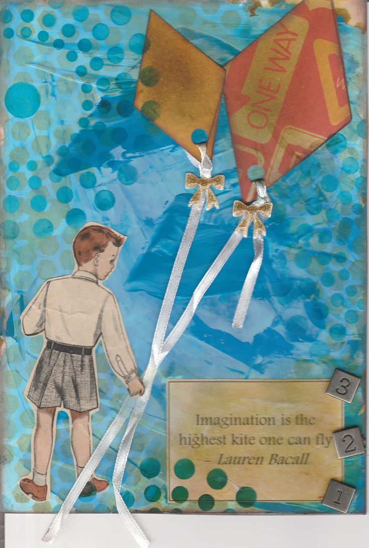 Art journal page with a kite