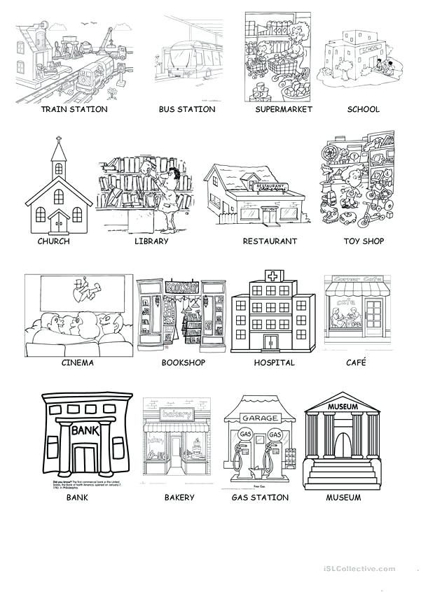 places in town worksheets printables places on the city. Black Bedroom Furniture Sets. Home Design Ideas
