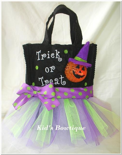 Pumpkin Witch Trick or Treat Purple Tutu Tote Bag