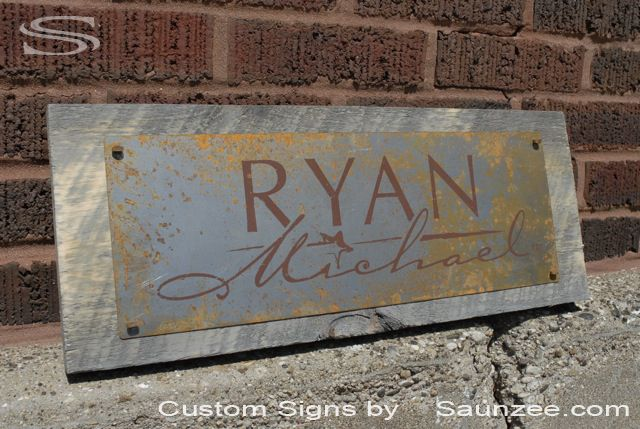 sign idea, but as rustic, think like this with polished or brushed metal ----Saunzee Custom Barn Wood Sign Timber Sign Wood Crates Signs Western Vintage Look Sign Rustic Rusty Steel Sign Old Rusty Metal Sign Nailed On Barn Board Retail Sign Retailer Signs Promotional Signs Advertising