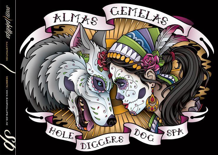 Sugar Skull Wolf Hole Diggers Dog Spa by Sam-Phillips-NZ
