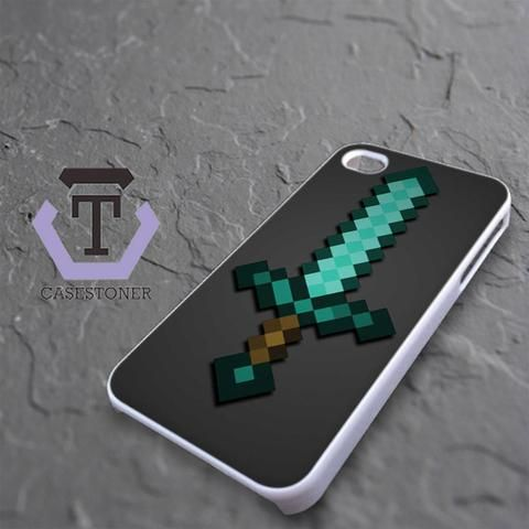 Minecraft Green Mint Sword iPhone 4|iPhone 4S Black Case