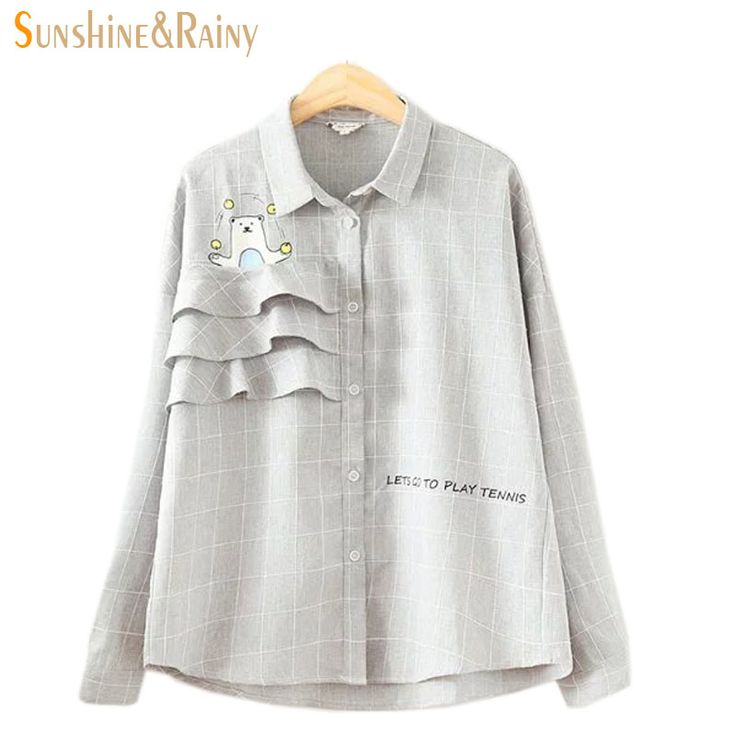 2016 autumn winter women ruffles tops new fashion cartoon bear shirts blouse bow shirt women gray plaid tops for female office