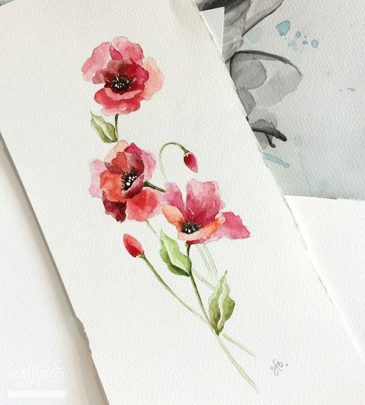 양귀비 수채화 by 타투이스트 리버