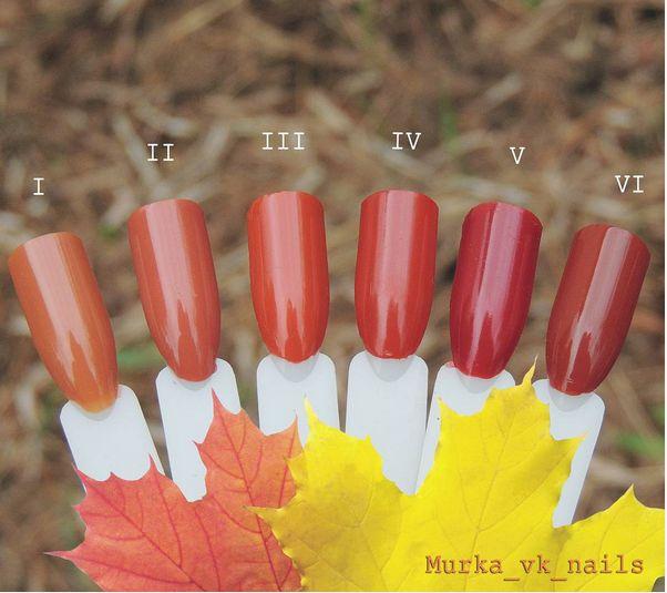 "Fall colors // I.China Glaze""Desert Sun"" II.Golden Rose""109"" III.OPI""It's a Piazza Cake"" IV.Fnug""Hot Pants"" V.OPI""First Date at the Golden Gate"" VI.Barry M""Paprika"""
