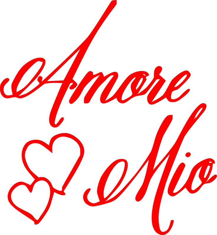 Amore Mio Vinyl Decal measures approximately 12 x 13. Available in Black, White or Red. Vinyl can be added to any smooth, clean surface. Easily applied & removable! Created from Commercial Grade Vinyl