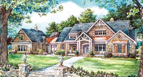 Rambler house plans country house plans with porches for Breezeway house plans