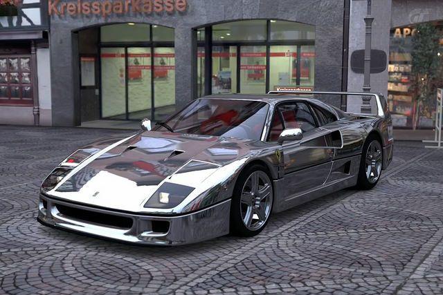 Chromed Ferrari F40 by 1GrandPooBah, via Flickr