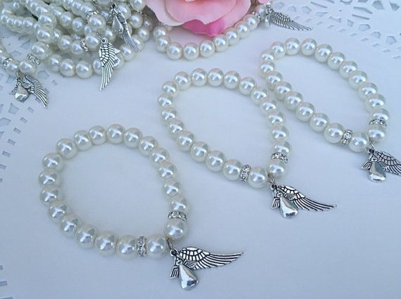 24 off white Angel Pearl Bracelets for Baptism by WEDDINGLASSOS
