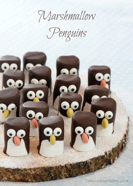 How to make easy marshmallow penguins - fun Christmas food idea for kids - they make great party food treats - Eats Amazing UK