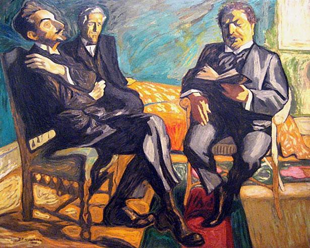 "Jens Ferdinand Willumsen | ""Sophus Clausssen reading poems"""