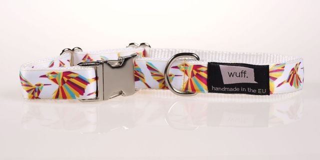 Hummingbird Dog Collar White -  The Hummingbird is beautiful, colourful and dynamic; we recommend this pattern for truly active dogs. http://www.wuffcollars.com/en/item/Hummingbird_Collar-102 Item Code: 102
