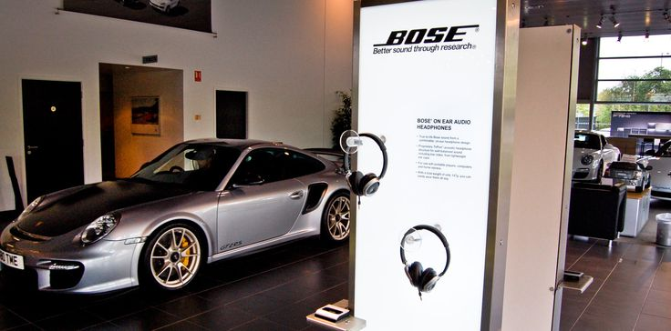 Porsche Dealership POS - www.whiteroomuk.com  As part of our ongoing support with growing the Bose retail programme, we designed and installed a suite of freestanding interactive displays for Porsche customers to engage with the Bose brand in a Porsche environment. #RetailDesign #Bose #Porsche