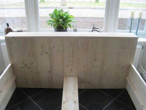 2Persoonsbed van geschaaft steigerhout in verschilende afmetingen verkrijgbaar