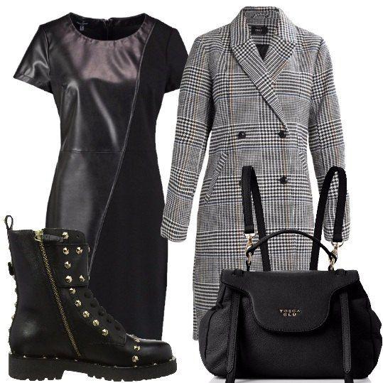 Outfit composto da vestito nero con maniche corte in similpelle e elastan 5885db10583