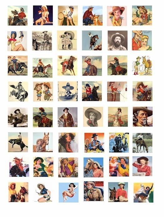 Country Western Cowboy Cowgirl ranch rodeo horse clip art collage 1 INCH squares