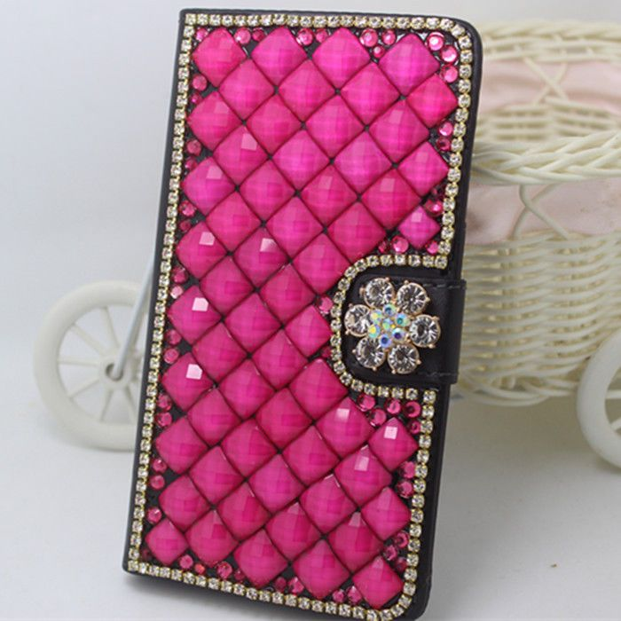 Rose pearls crystal flowers PU leather wallet flip cover case skin for Samsung