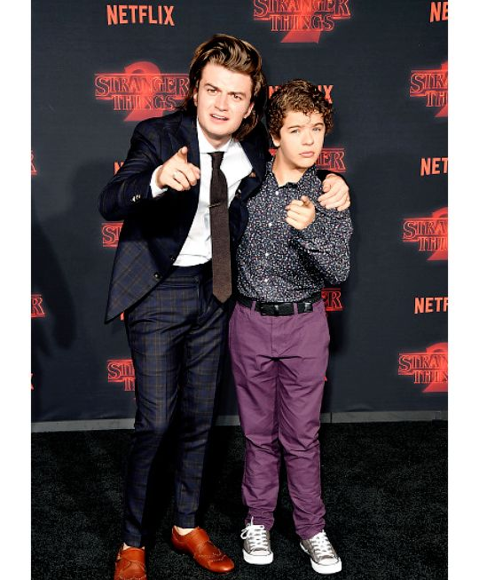 Joe Keery and Gaten Matarazzo at the Stranger Things Season 2 Premiere