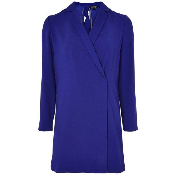 TopShop Bow Back Blazer Dress ($100) ❤ liked on Polyvore featuring dresses, cobalt, topshop dresses, bow back dress, cobalt blue dresses, neck ties and blue dress