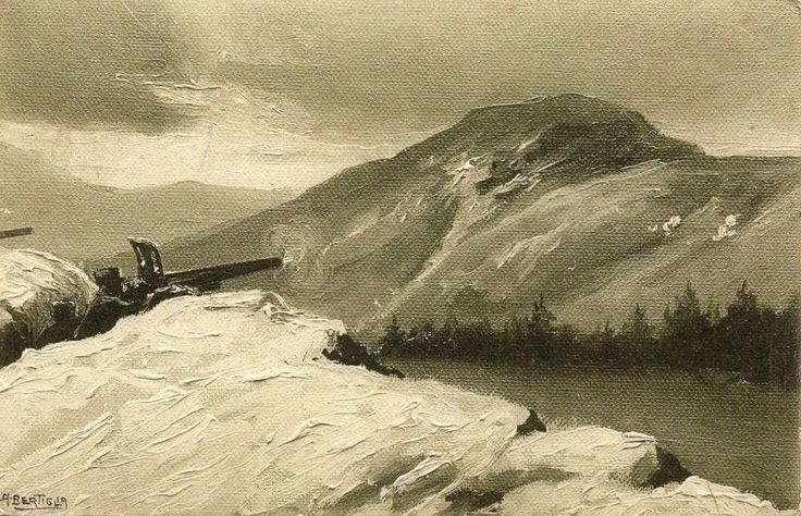 A.BERTIGLIA - CARTOLINA ILLUSTRATA RARA - MITRAGLIERE SULLE ALPI -VIAGGIATA 1915