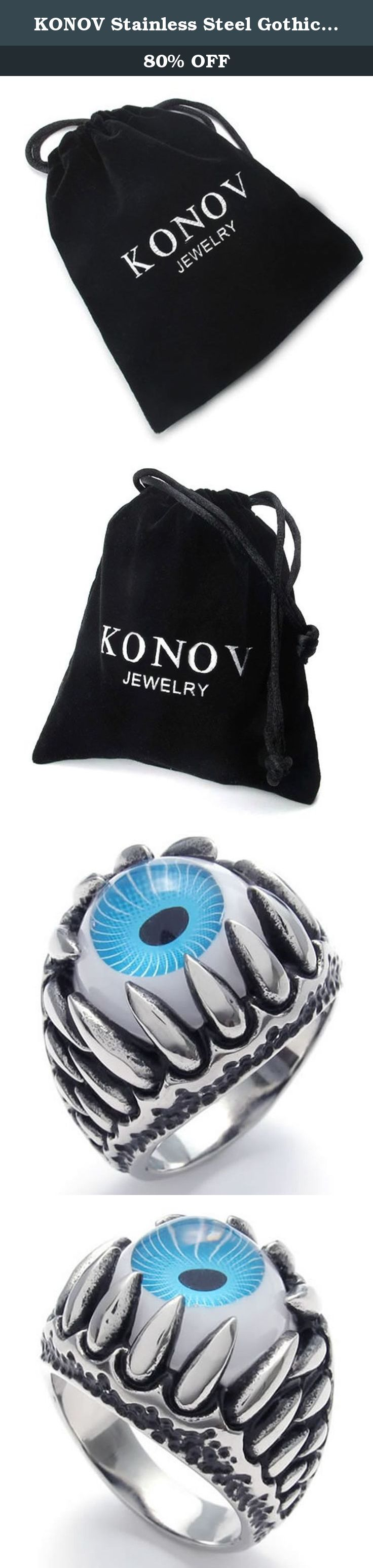 KONOV Stainless Steel Gothic Dragon Claw Devil Eye Biker Men's Ring, Blue Silver - Size 13. Why choose Stainless Steel Jewelry? Stainless Steel jewelry does not tarnish and oxidize, which can last longer than other jewelries. It is able to endure a lot of wear and tear. And it is amazingly hypoallergenic. Such advantages make it a more popular accessory. Why need Stainless Steel Jewelry? High quality stainless steel has high resistance to rust, corrosion and tarnishing, which requires...