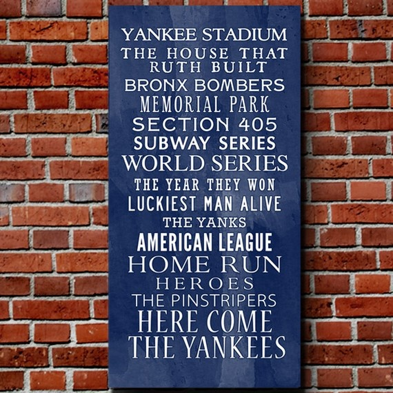 Want in my House!!! $75 Yankee Bus Roll Baseball Wall Art Home decor sports #Geezees #sports #Yankees