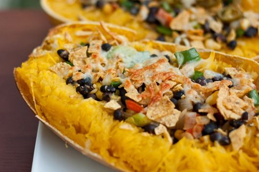Mexican stuffed spaghetti squash - microwaved for ten mins, not baked (don't know how it could be done in ten mins in an oven)