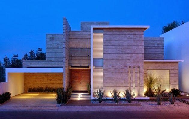 Fachada Moderna con Marmol Navona / JI STUDIO, México http://www.arquitexs.com/2013/12/casa-navona-fachada-marmol.html
