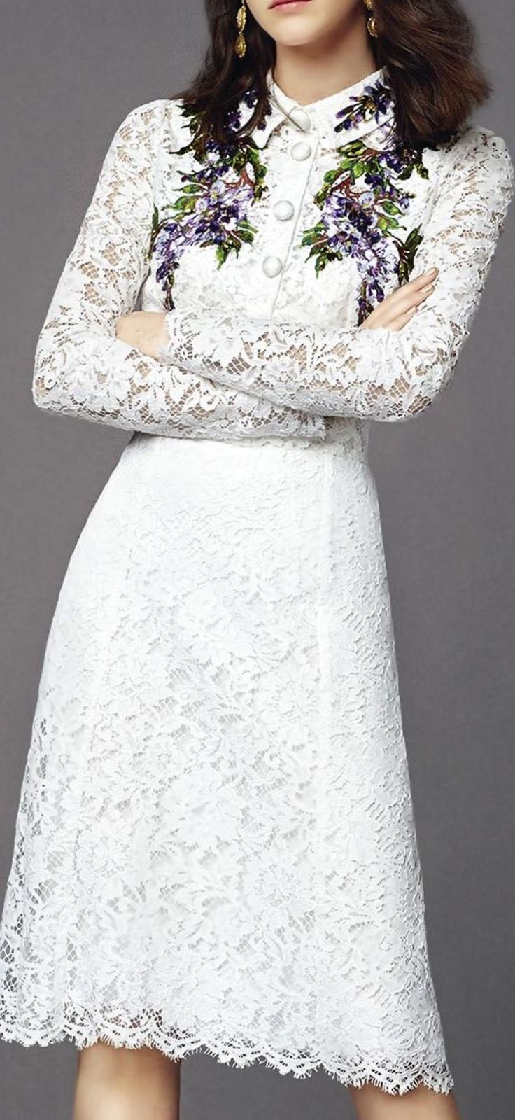 Dolce & Gabbana long-sleeve white lace dress with purple and green embroidery motif